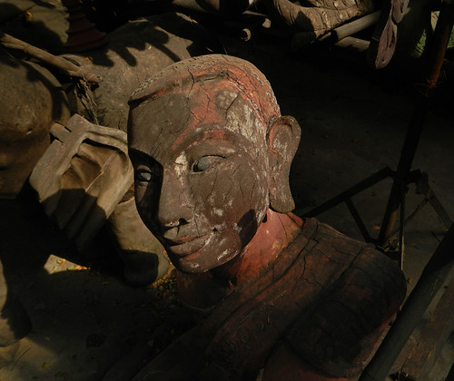 A Wooden Head For Sale In the Mandalay Wood Carvers' Workshop