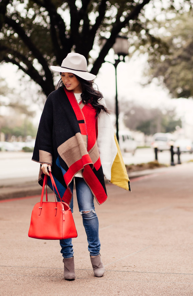 cute & little blog | petite fashion | maternity | gray fedora, burberry blanket poncho, white cable sweater, distressed jeans, gray ankle boots, red kate spade bag | fall winter outfit