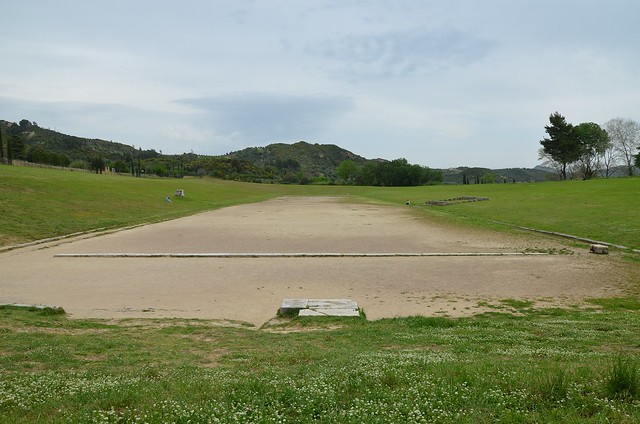 The ancient stadium, ca. 775 BC - ca. 350 BC, it could accommodate up to 40,000 spectators, Olympia