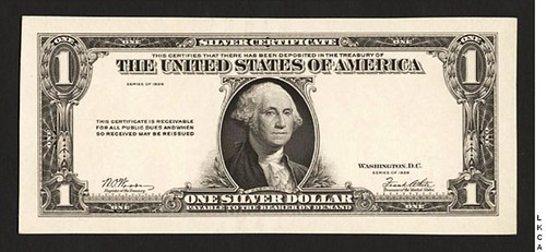 $1 Series 1928 Silver Certificate Essay (Obverse)
