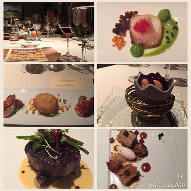 Dinner at Kai - sous vide ahi amuse bouch, main lobster and wamichtha, black currant and pineapple intermezzo, buffalo tenderloin, and apple dessert. So delicious! by bartlewife