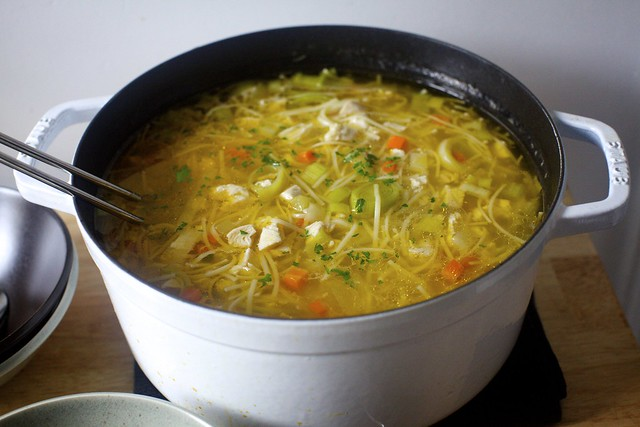 extra-noodled chicken soup