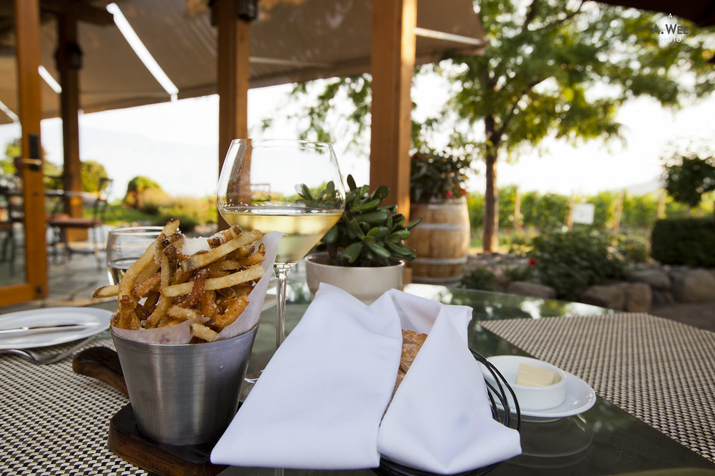 Truffle fries and chardonnay