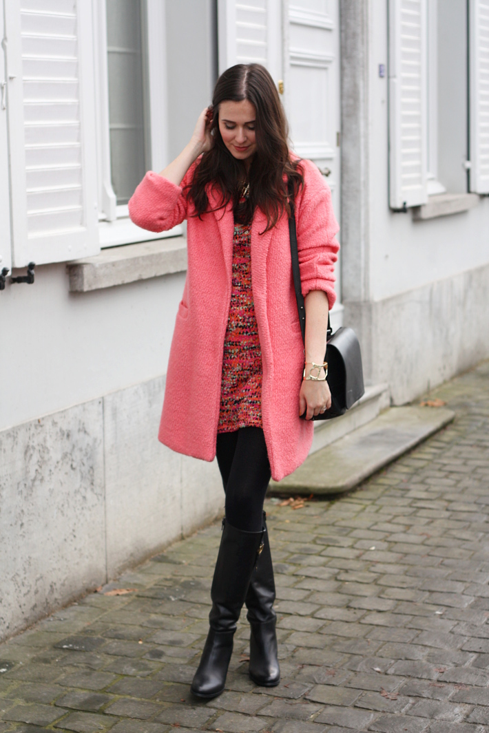 pink coat, bouclé sweater dress, knee high boots