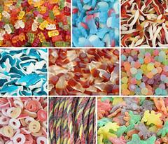 assorted gummy candies collage