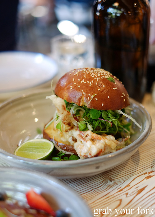 Fresh Queensland soft shell mud crab roll at Top Paddock, Richmond