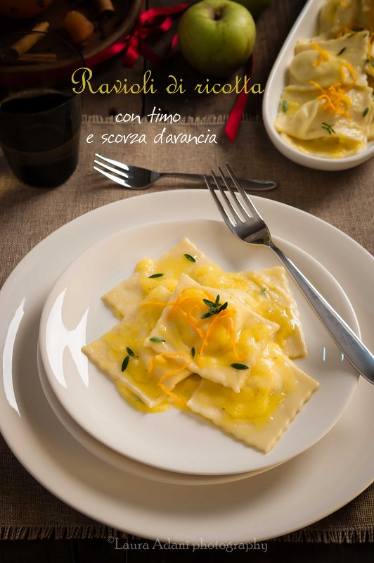 ricotta cheese ravioli with lemon thyme and orang peel