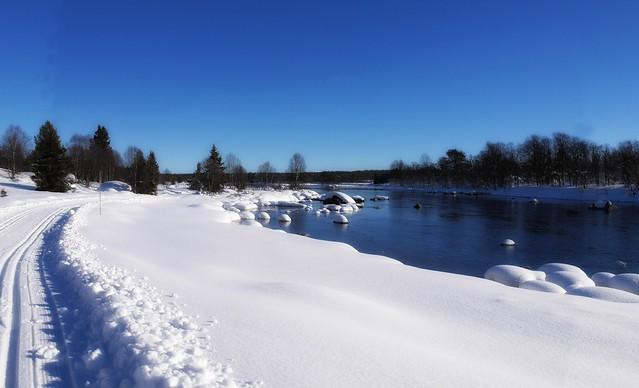 Winter river in Valdres, Norway