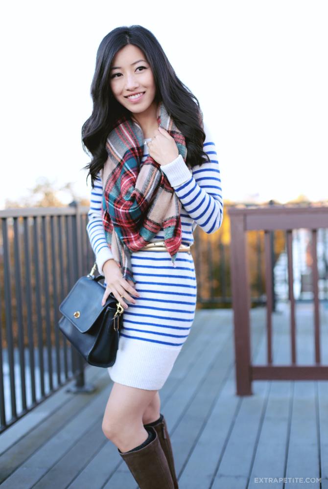 stripe sweater dress boots petite fashion2