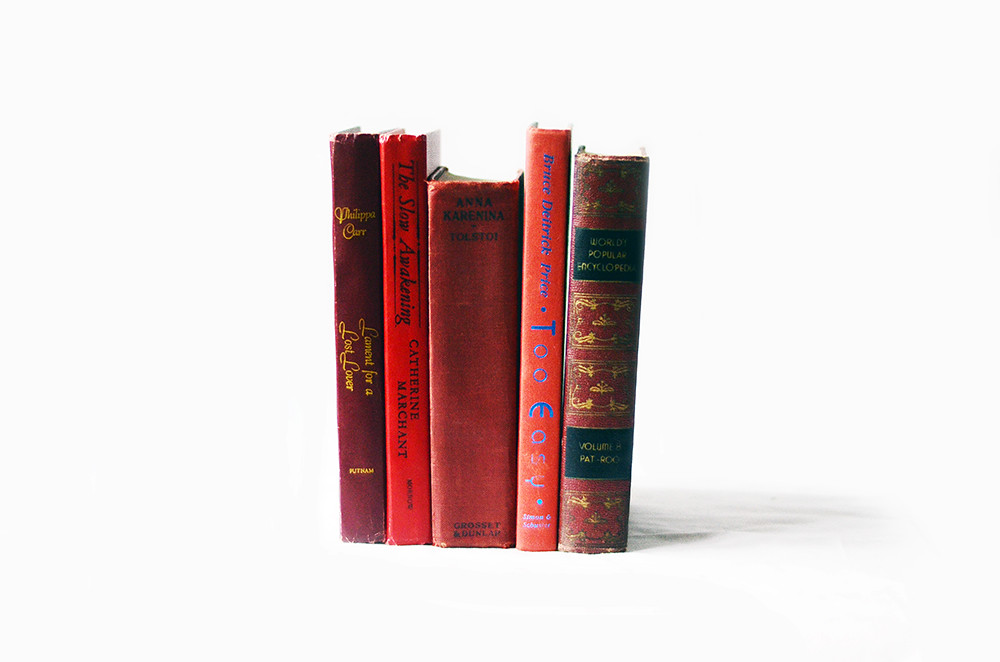 Set of Five Vintage Red Books