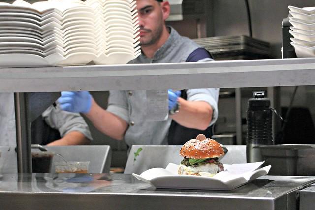 A plated burger at Gordon Ramsay's BURGR, Las Vegas