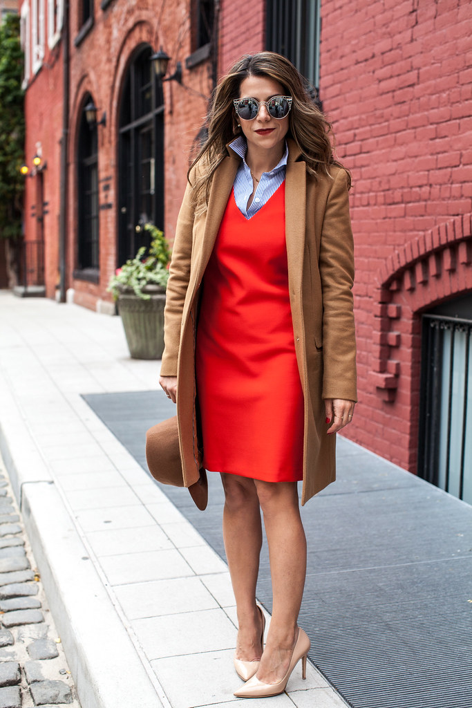 camel trench coat target fedora hat dvf bethany heels trina turk orange dress ann taylor stripes button down shirt nordstrom zara lord and taylor new york fashion blogger corporate catwalk what to wear to work when it's cold outside layering in the fall Leith sunglasses