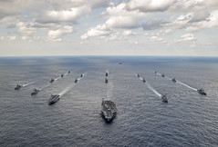 U.S. Navy and Japan Maritime Self-Defense Force ships steam in formation at the conclusion of exercise Keen Sword in November. (U.S. Navy/MC3 Chris Cavagnaro)