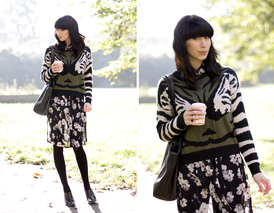 Numph pullover floral skirt oufit autumn fal look lookbook ootd style blogger ricarda schernus cats & dogs 6