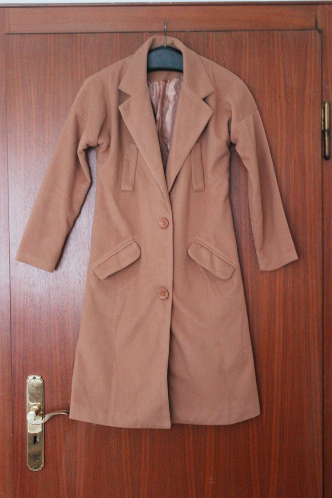 Notch Lapel Long Buttoned Coat