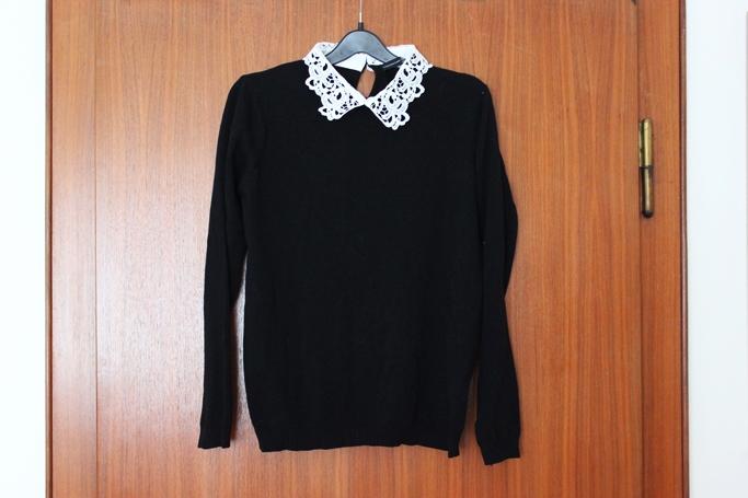 Primark schwarzer Pulli mit Bubikragen - schlichter Pulli Bubikragen - black jumper with collar peter pan collar