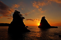 The setting sun to look at from Hokkezaki