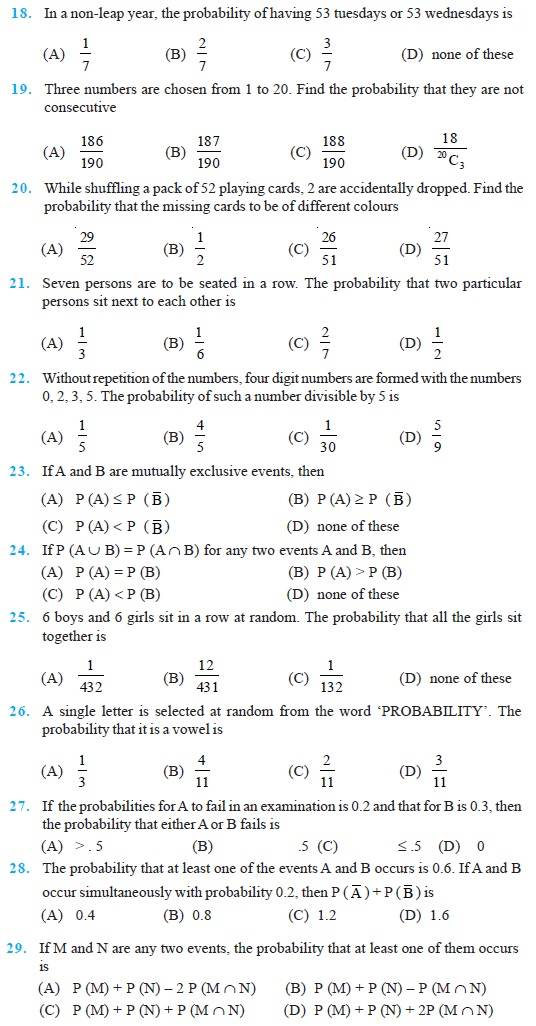 Class 11 Important Questions for Maths – Probability
