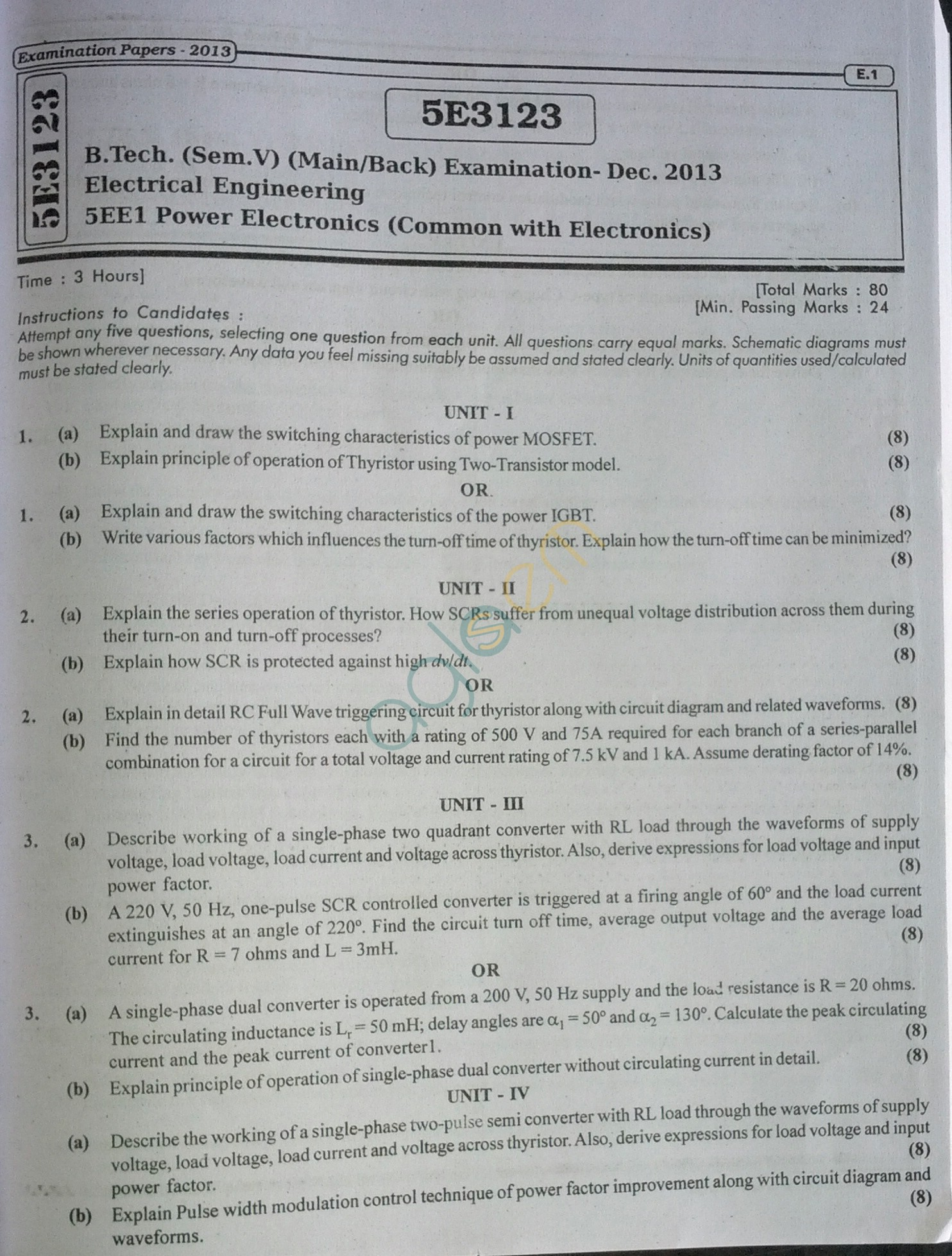 RTU: Question Papers 2013 - 5 Semester - EE - 5E3123