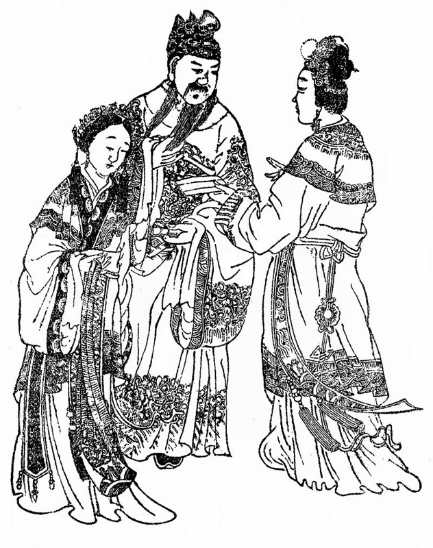 A Qing dynasty illustration of Emperor Xian and his family