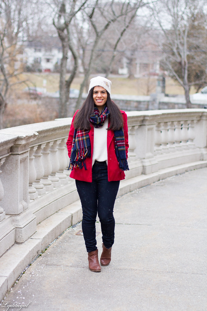 white sweater, red coat, plaid scarf.jpg