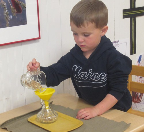 pouring with a funnel