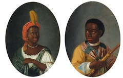 Dirck Valkenburg Portrait of a Young African Woman; Portrait of a Young African Man Holding a Bow Netherlands (c. 1706) A pair, the first oil on canvas laid down on panel, the second oil on panel, both oval. each: 9 1/8 by 6 ¾ in.; 23.2 by 17.2 cm. via So