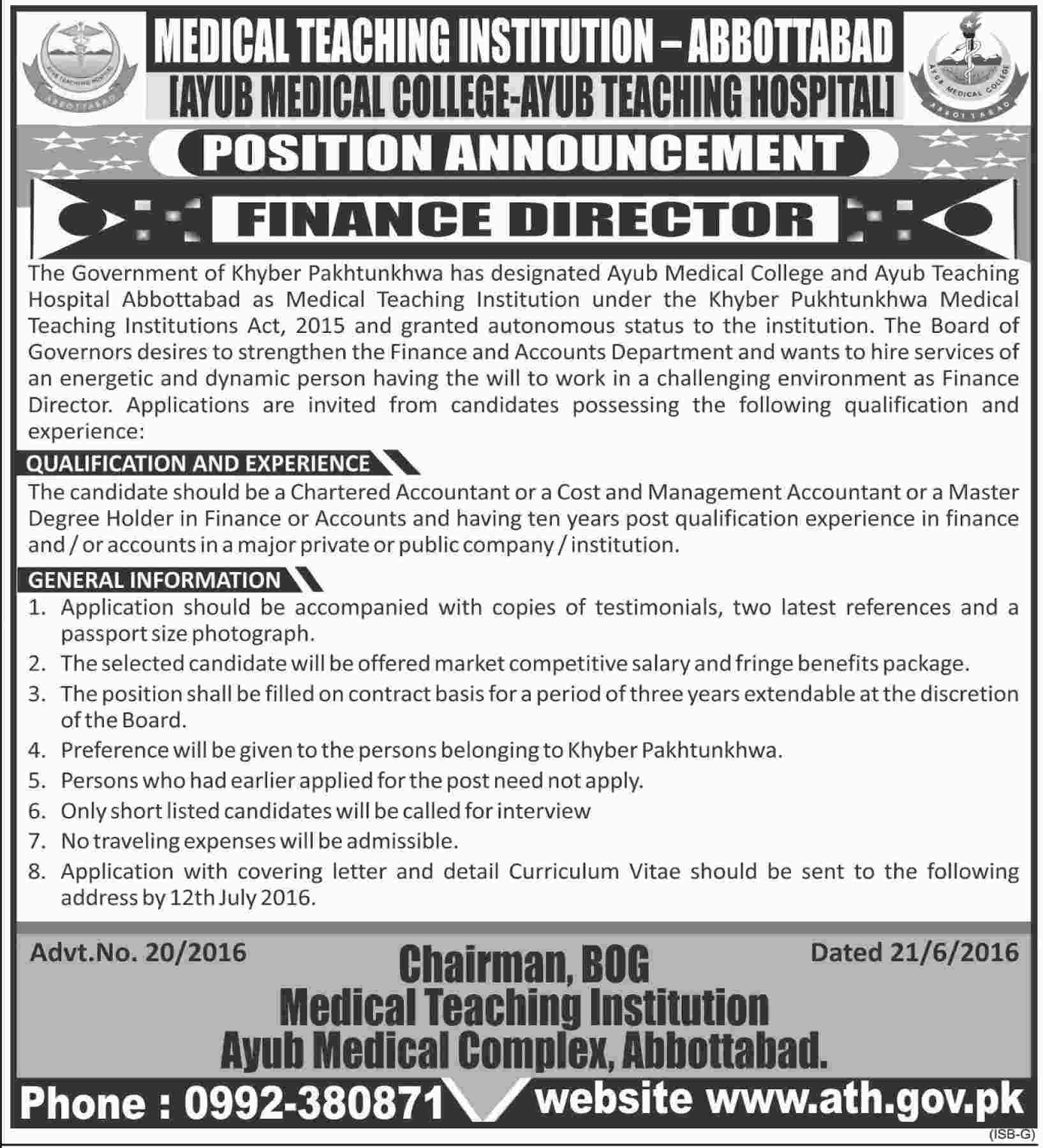 Ayub Teaching Hospital Abbottabad Director Finance Required