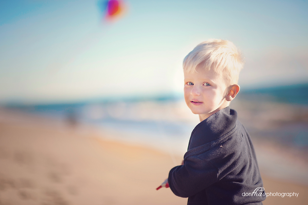 boy and kite on West Michigan beach photography