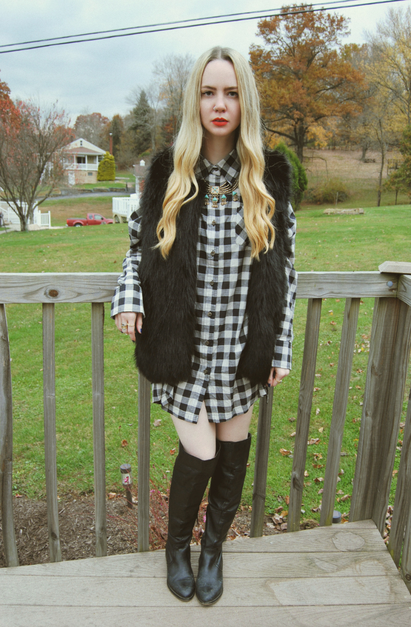 BlackWhitePlaidShirtDress_BlackFauxFurVest_ShoemintBlackOTKBoots