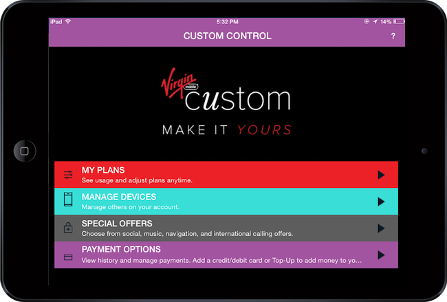 Virgin Moble Custom - Custom Control app