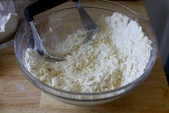 cut the butter into the flour, sugar and salt