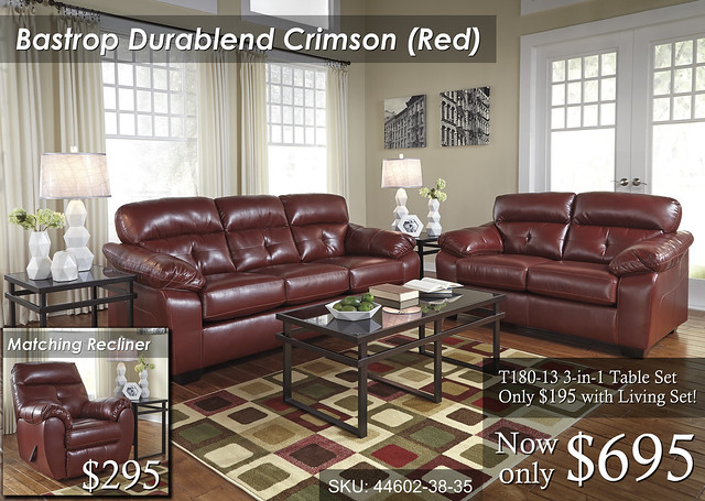 44602-38-35-T180 Bastrop Durablend Crimson (Red) -- $695 -- T180-13 Only $195 Cocktail Table & 2 End Tables