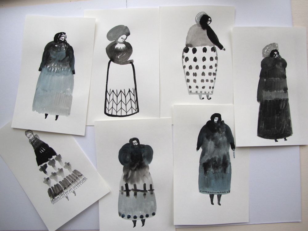 winter figures - gouache on paper