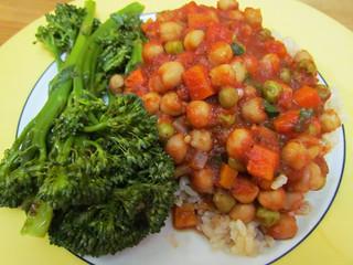 Chickpea Cacciatore; Sesame Broccolini