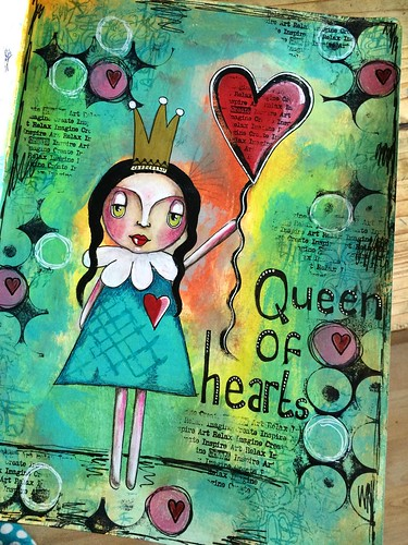 Queen of hearts art journal page