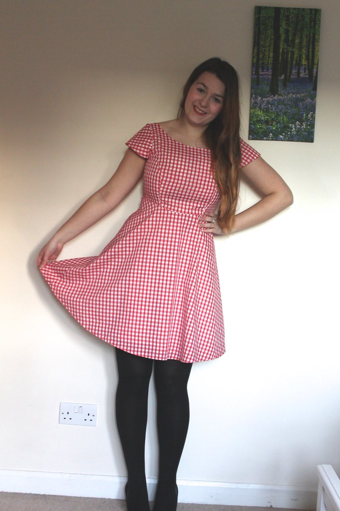 Gingham Full Skirt Dress