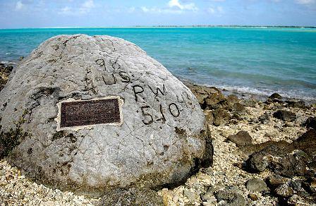 Roca grabada en la Isla Wake