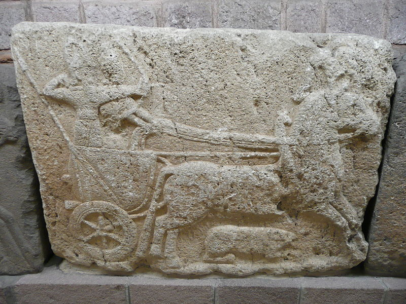 Relief of Hittite war chariot in the Museum of Anatolian Civilizations, in Ankara, Turkey