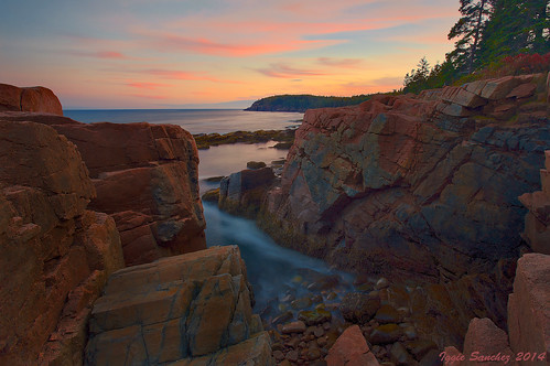 park longexposure trees sunset colors clouds landscape rocks horizon maine national acadia cean