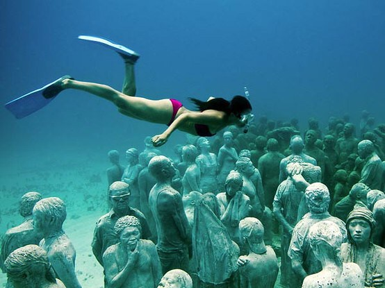 Museo Subacuático de Arte near Cancun, Mexico is a new underwater museum where over 400 permanent sculptures have been installed 12 foot deep in the seabed.