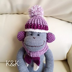 She was born on December 17, 2014♡  #sockmonkey #handmade #purple #gray #crochet #classy #pretty #kawaii #ソックモンキー #ハンドメイド #紫 #パープル #グレー #かぎ針編み #おしゃれ #Etsy #Creema #minne #iichi