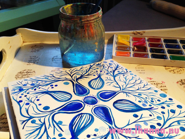 Tray, watercolor mandala painting and water on iHanna's desk #mandala