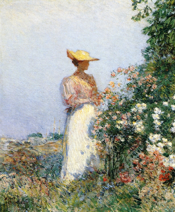 Lady in Flower Garden by Frederick Childe Hassam - circa 1891