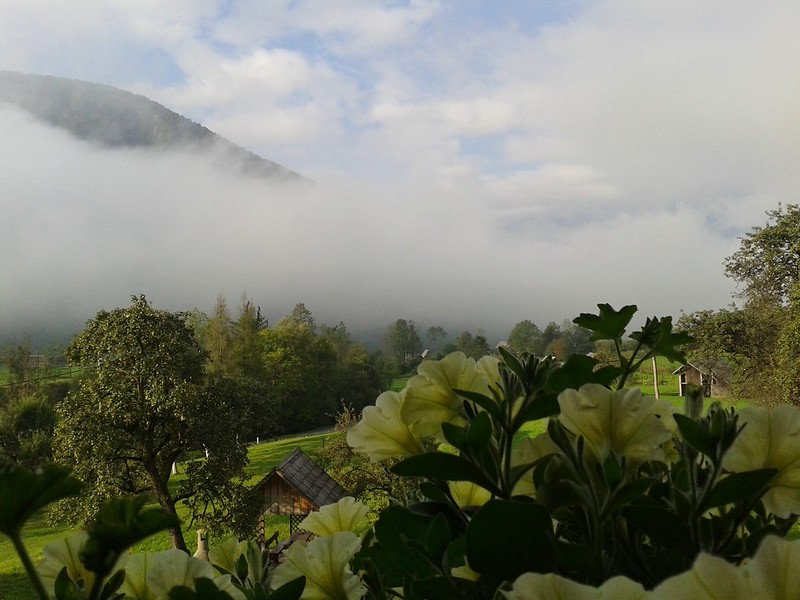 Misty mountain from terrace of our guesthouse