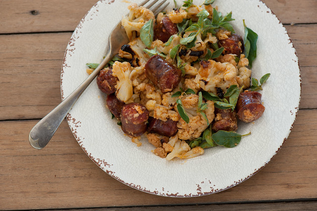 roast cauli with chorizo