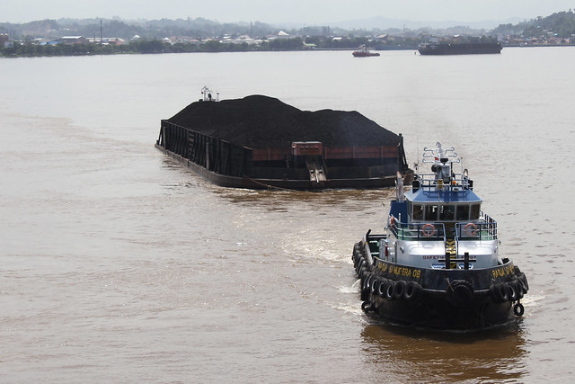 coal barge on a river