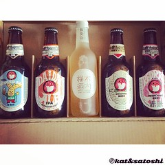 stash from kiuchi brewery : real ginger ale, daidai ipa, shuwashuwa umeshu, classic japanese ale & red rice ale #beer #hitachino #craftbeer #umeshu #100thphoto #Japan #imbibe