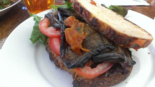 Eggplant Bacon, Lettuce and Tomato Sandwich at Petty Cash