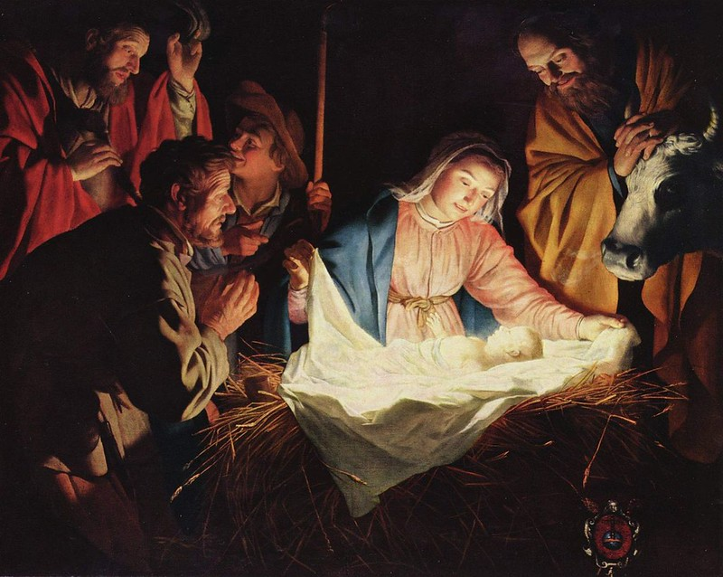 """Birth of Jesus depicted on """"Adoration of the Shepherds"""" by Gerard van Honthorst"""
